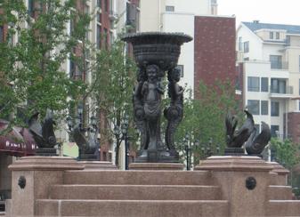 为合肥园艺小区铸造的铜雕喷泉